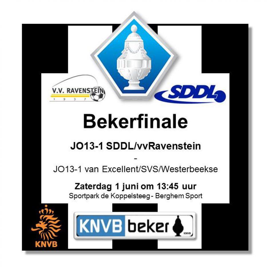 Bekerfinale zaterdag 1 juni voor SDDL/VVR  JO13-1